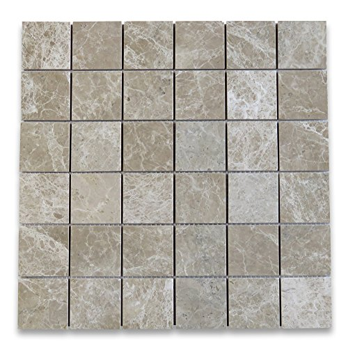 Emperador Light Marble Square Mosaic Tile 2 x 2 Polished