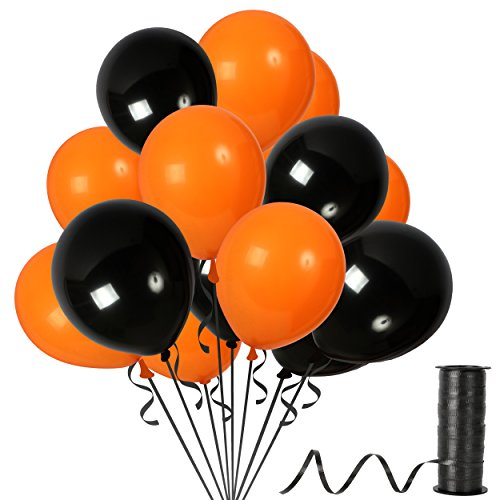 Pack of 100 Orange and Black 12 Inch Balloons Halloween Latex Birthday Party Decorations Fashionable Graduation Decor Outdoor Floating Bouquet -
