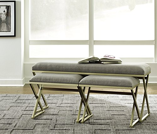 Ashley Furniture Signature Design – Emanita Set of 3 Accent Benches – Contemporary – Gray Upholstered Seat – Gold Metal Legs