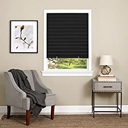 "Achim Home Furnishings Cordless 1-2-3 Vinyl Room Darkening Pleated Window Shade, 36"" x 75"", Black"