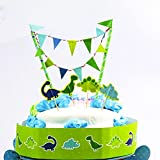 Cute Dinosaur Cake Bunting BannerCake Topper,Handmade Multicolor Pennant Flags with Green Pole ,Mini Banner Decor Dino Theme Birthday Party Supplies Baby Boy Shower Decorations