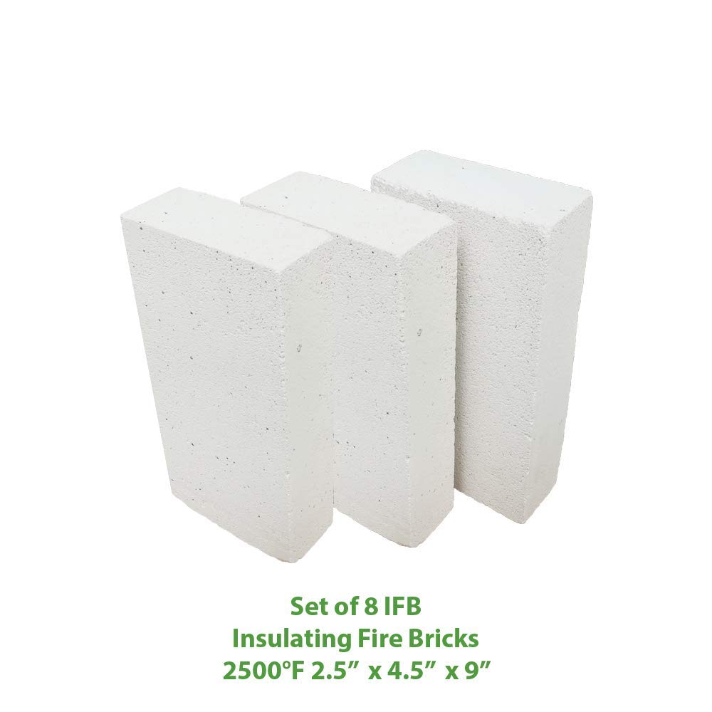 Insulating FireBrick 9'' x 4.5'' x 2.5'' IFB 2500F Set of 8 Fire Brick for Pizza Ovens, Kilns, Fireplaces, Forges by Unknown