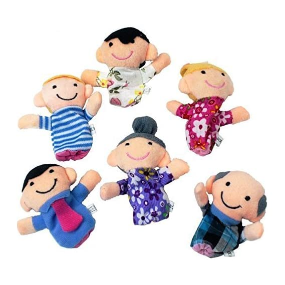 Lata Family Finger Puppets - People Includes Mom, Dad, Grandpa, Grandma, Brother, Sister