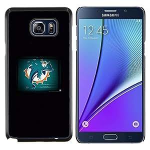 Caucho caso de Shell duro de la cubierta de accesorios de protección BY RAYDREAMMM - Samsung Galaxy Note 5 5th N9200 - Dolphin Grunge
