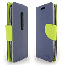 Moto G 3rd Gen Case, CoverON® [CarryAll Series] Flip Folio Card Slot Pouch Cover LCD + Strap + Stand Wallet Case For Motorola Moto G 3rd Generation 2015 - Navy Blue & Neon Green