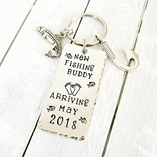 Fishing Buddy, Baby Shower gift, Gender Reveal, Pregnancy Announcement, Fish Hook key chain, Gift for New Dad, Grandpa Gift
