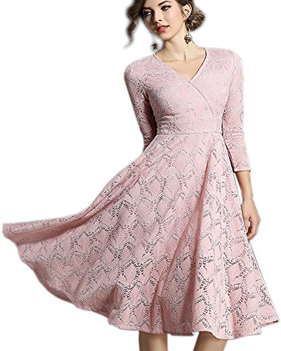 Aox Women's Floral Lace 3/4 Sleeve Crochat Lace Floral A Line Swing Dress Skater 2018 Spring Summer Plus Size S-4XL (Pink, 3XL)