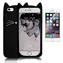 iPhone 6 Case, iPhone 6S Creative Case Cover, Bonice 3D Premium Fashion Lovely Protective Case Soft TPU Rubber Silicone Back Skin Cover Cartoon Accessory Mobile Phone Cover - Black Cat Moustache