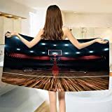 smallbeefly Teen Room Decor Bath Towel Professional Basketball Arena Stadium Before Game Championship Sports Image Bathroom Towels Multicolor Size: W 27.5'' x L 71''