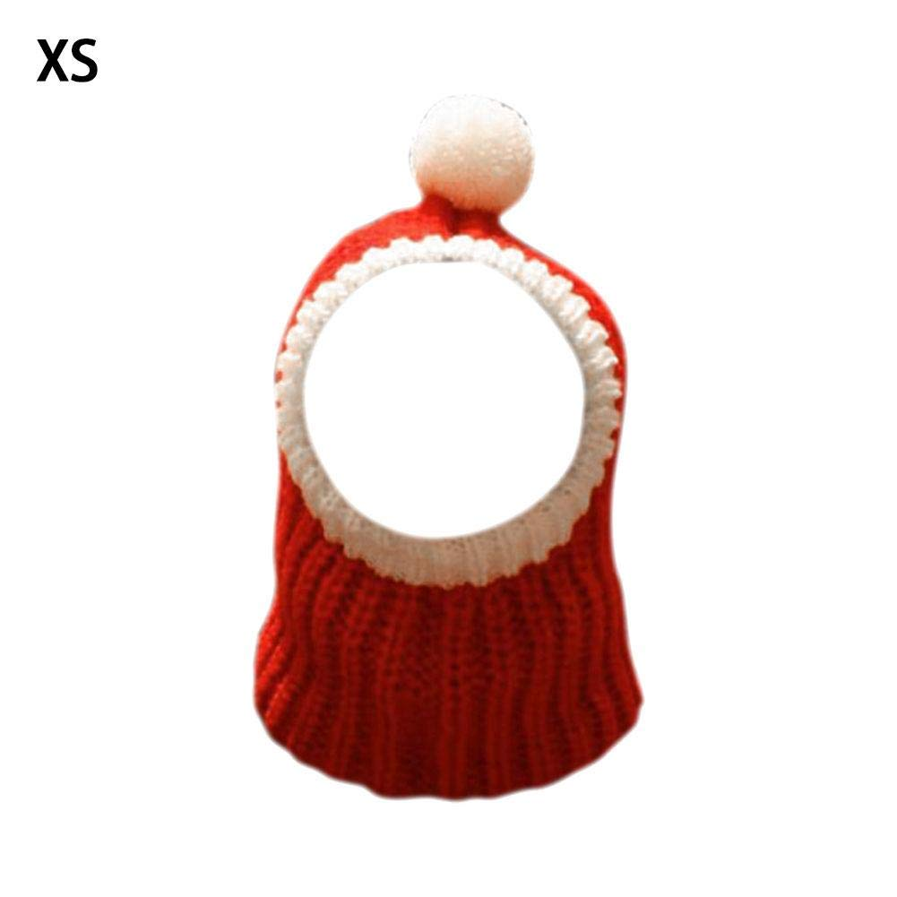 Christmas Pet Santa Hat Neck And Ear Warmer Snood For Pets Red Elastic Acrylic Cap Warm Crocheted Snood Winter Pet Knit Headwear