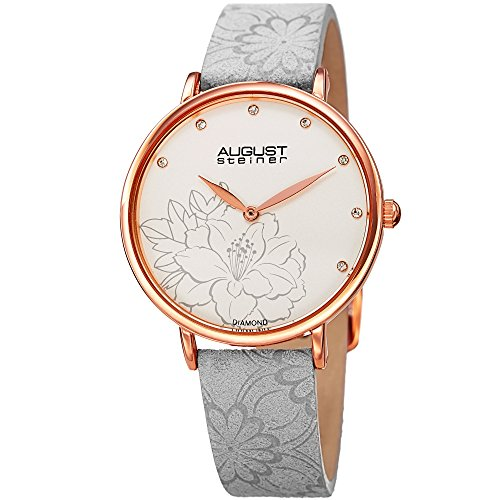 Flower Print Watch - August Steiner Diamond Studded Dial Women's Watch – with Floral Embossed Grey Genuine Leather Bracelet Band - Flower Print Dial - AS8242GY
