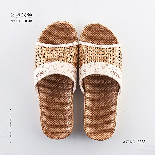 Anti Slip Grass 35 Light Older Slippers fankou 36 B The Summer Yellow Slippers Cool in Bamboo Persons The Female 4xwXwv1AqI