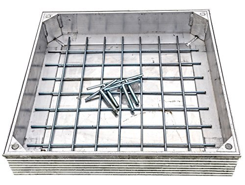 Double Sealed Aluminium Recessed Manhole Cover, Frame & Keys/For Paving Garden Exterior Decorative/DS-Line 60mm Depth (300mm x 300mm x 48mm Clear Opening) MPP