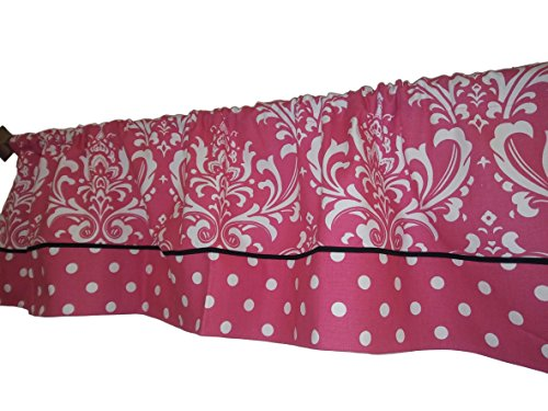 Pink Damask, pink and White Polka dots on the bottom curtain valance, fabric, Window treatment. 54