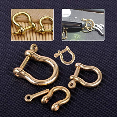 Kamas DIY 2PCS S/M/L Brass D Shackle Joint Clasp for Keyring Key Pouch Belt Loop Fastener Clip DIY - (Size: L) ()