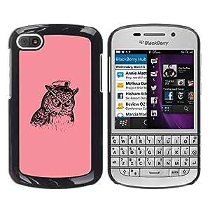 Be Good Phone Accessory // Dura Cáscara cubierta Protectora Caso Carcasa Funda de Protección para BlackBerry Q10 // Captain Owl