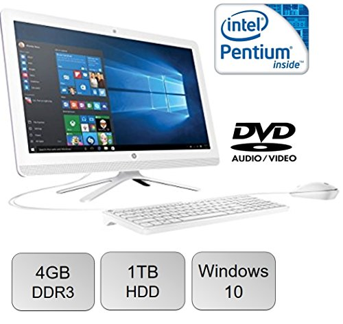 HP All-in-One 21.5″ Full HD IPS High Performance Desktop PC, Intel Pentium Quad-Core Processor 4GB RAM 1TB 7200RPM HDD DVD+/-RW WIFI Bluetooth HDMI USB 3.0 Windows 10, Silver
