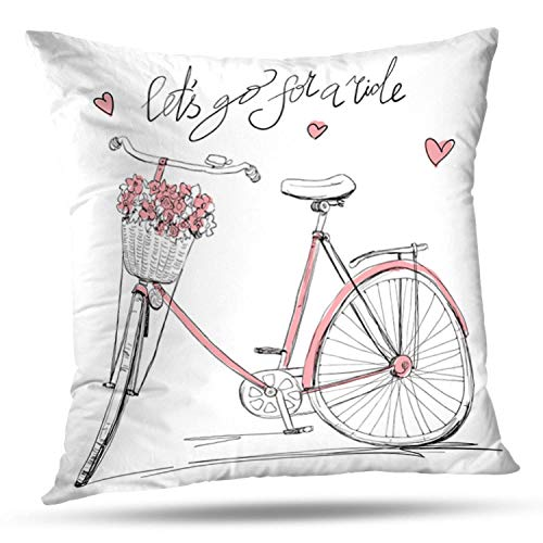 Lshtar Throw Pillow Covers, Bicycle with Basket Full Flowers Bicycle Vintage Girl Bike Love Cute for Sofa Cushion CoverShort Plush Design Decoration Home Bed Pillowcase 18x18 inch