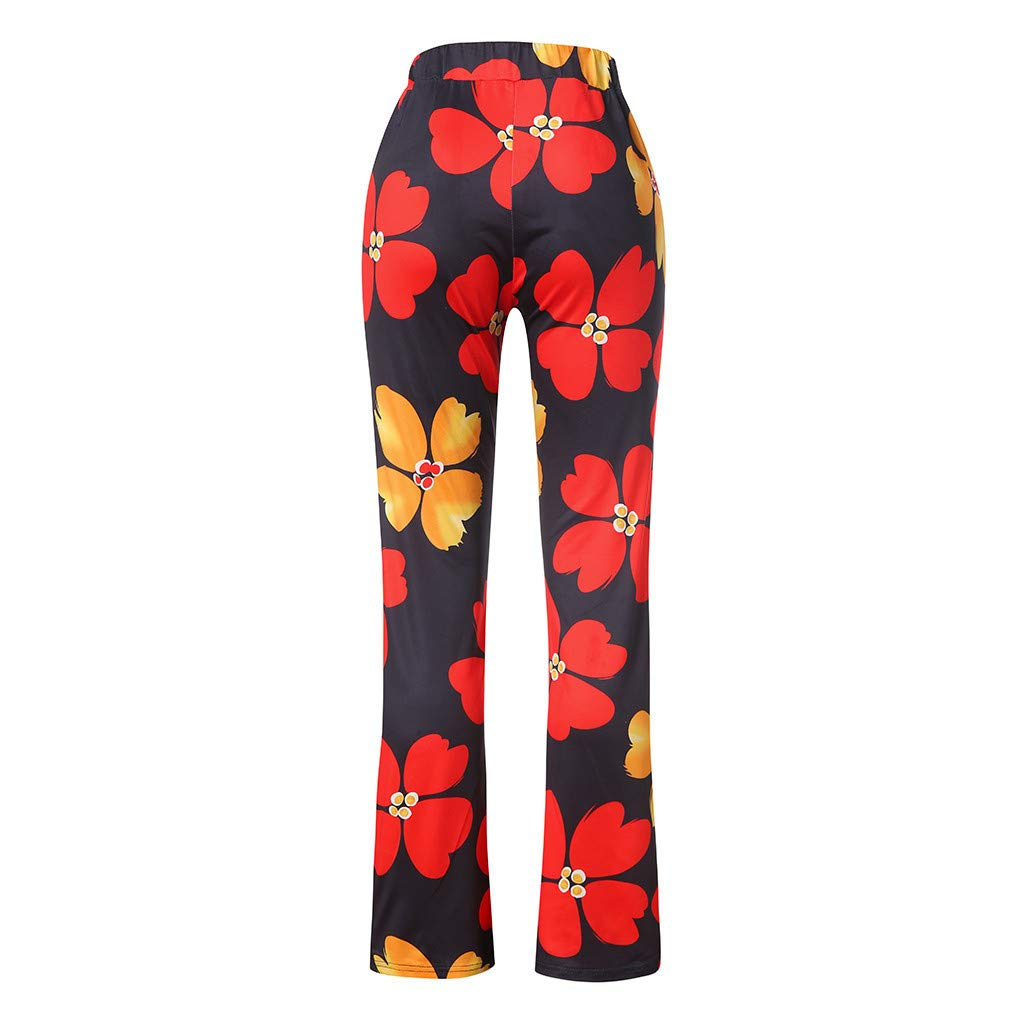 Pervobs Women Summer Casual Boho Floral Printing High Waist Wide Leg Pants Holiday Daily Loose Super Comfy Trouser(L, Black) by Pervobs Women Pants (Image #7)