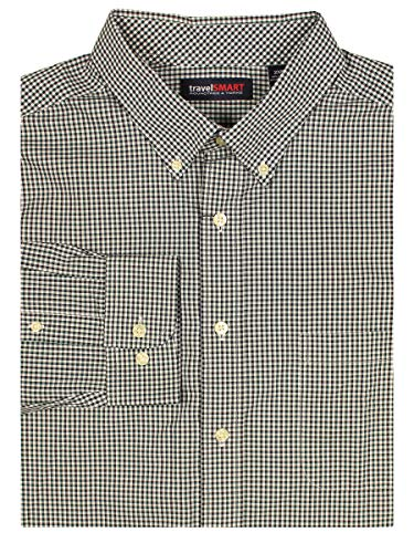 Roundtree Yorke Green - Roundtree & Yorke TravelSMART Men's Big & Tall Wrinkle Resistant Easy-Care Shirt (Spruce/Blk Gingham, 2X Big)