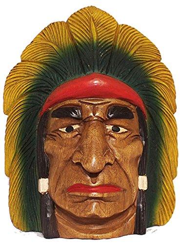 shopweb – Máscara indio de madera maciza estilo étnico decorado a mano