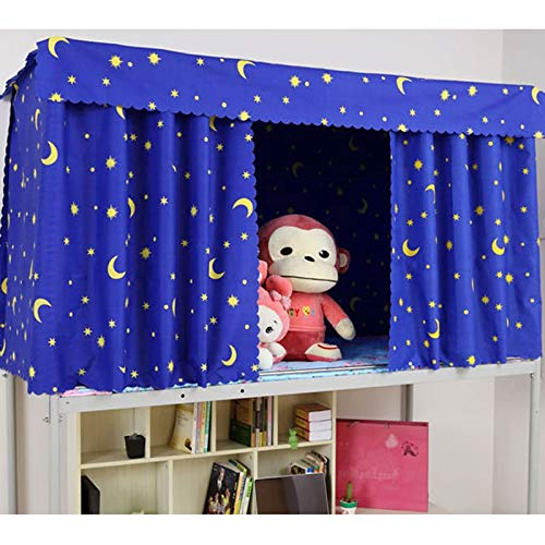 - Heidi Galaxy Star Bed Canopy Single Sleeper Bunk Bed Curtain Student Dormitory Blackout Cloth Mosquito Nets Bedding Tent (Blue)