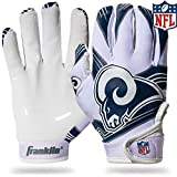 Franklin Sports Los Angeles Rams Youth NFL Football Receiver Gloves – Receiver Gloves For Kids – NFL Team Logos and Silicone Palm – Youth M/L Pair