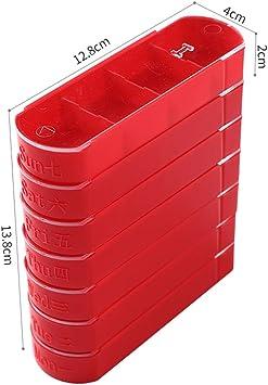 Pastillero Caja de pastillas pildoras Caja Almacenamiento Organizador diario de suplementos de medicina Ideal para viajar,Red: Amazon.es: Salud y cuidado personal