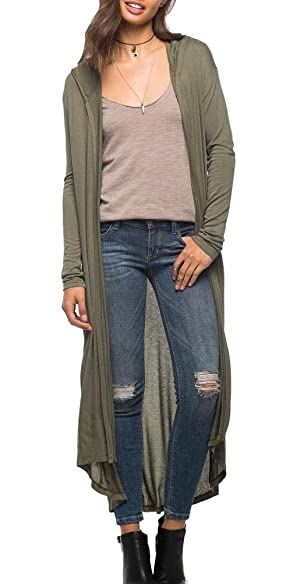 Merdoly Womens Long Sleeve Hooded Open Front Long Thin Trench Coats