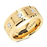 100S JEWELRY Tungsten Rings For Mens Gold Wedding Bands 3 CZ Inlaid Jewerly Size 8-15 (10.5)