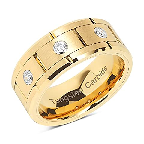 Mens Wedding Bands Tungsten Carbide Gold Rings For him Comfort Fit Brick Pattern Style 3 CZ Inlaid Size 8-14 (Man Ring Gold 14k)