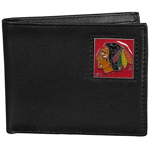NHL Chicago Blackhawks Leather Bi-Fold Wallet Packaged in Gift Box, Black