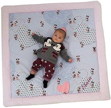 actividades y juegos para beb/és con aislante del fr/ío Varios modelos y tama/ños disponibles. Manta de suelo PERSONALIZADA CON EL NOMBRE acolchada de gateo Mickey Minnie Baby Azul, 100x100
