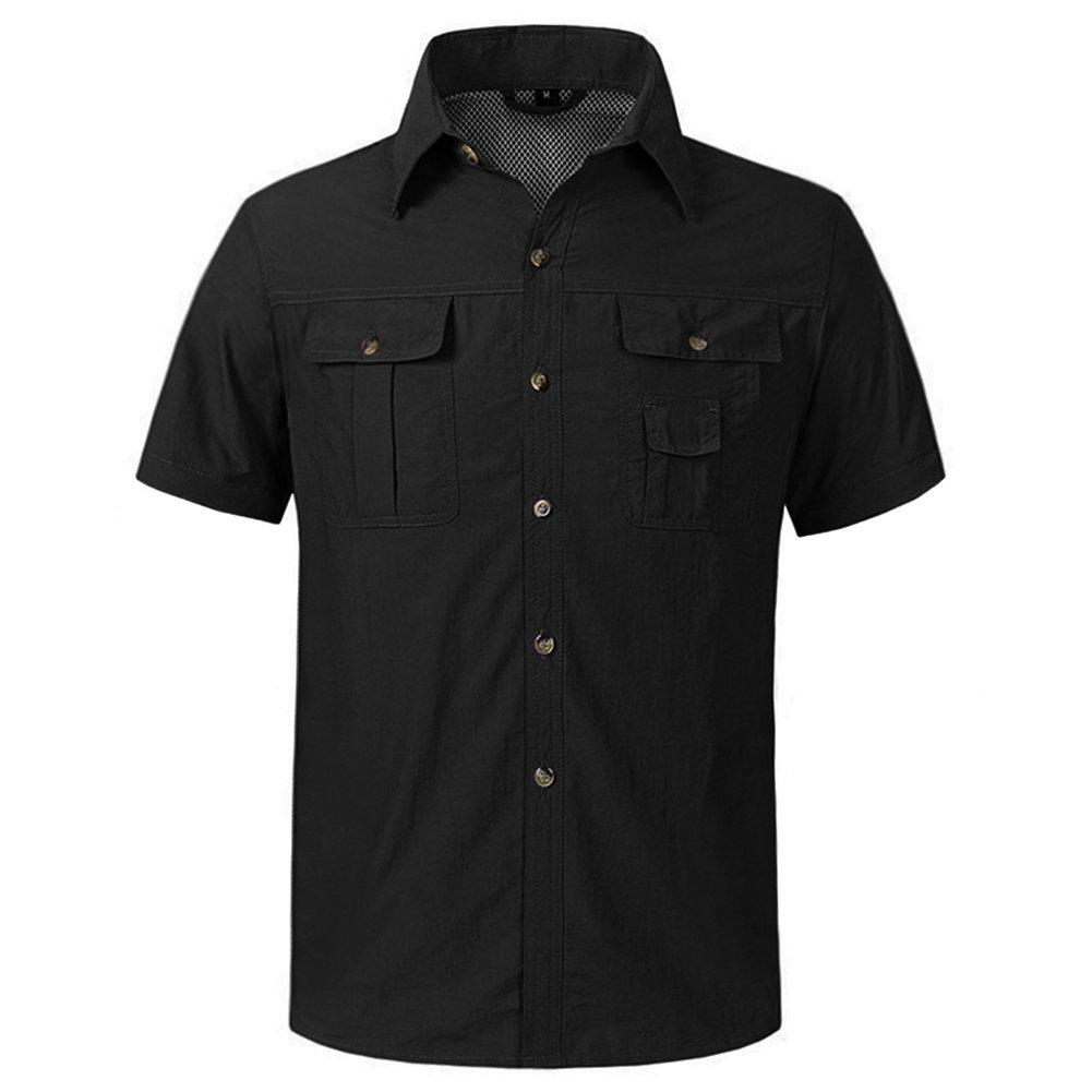c38396b16dae Amazon.com  CRYSULLY Men s Convertible Shirts Outdoor Lightweight Quick  Drying Hiking Camping Shirts Long Short Sleeve Shirt  Clothing