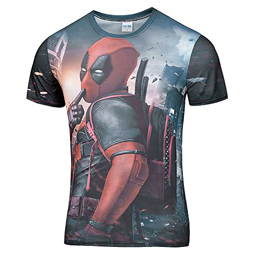 Bolany New Deadpool Funny 3D Characters Badass Fitness Comic Casual T-Shirt (Badass Characters)