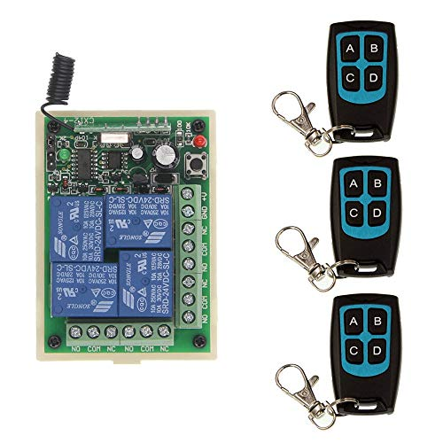 DC 12V 24V 4 CH 4CH RF Wireless Remote Control Motor Light Door Switch System,Waterproof Transmitter + Receiver,315/433 MHz - (Voltage: 12V, Size: 315 MHz)