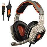 SADES SA917 USB Stereo Gaming Headset Headphones for PC with Microphone Volume-Control LED Light Four EQ Modes