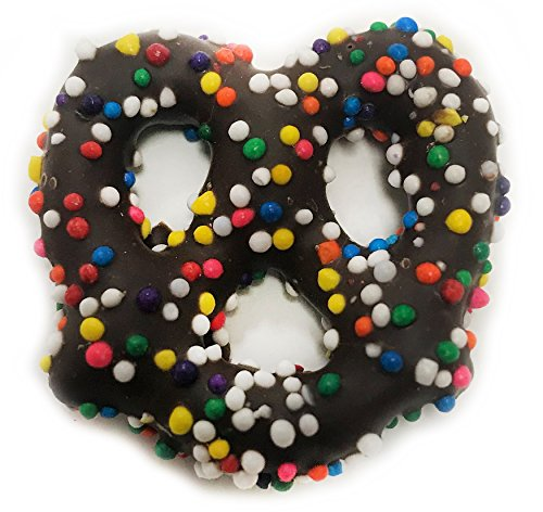 Gourmet Dark Chocolate Covered Pretzels with Rainbow Nonpareils by Its Delish (1 lb) (Order Chocolate Covered Pretzels)