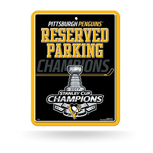 "NHL Pittsburgh Penguins 2017 Stanley Cup Champions High-Res Metal Parking Sign, Black, 8.25"" x 11"""