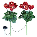 Collections Geranium Flowers Solar Light Garden Stakes, Set of 2, Red