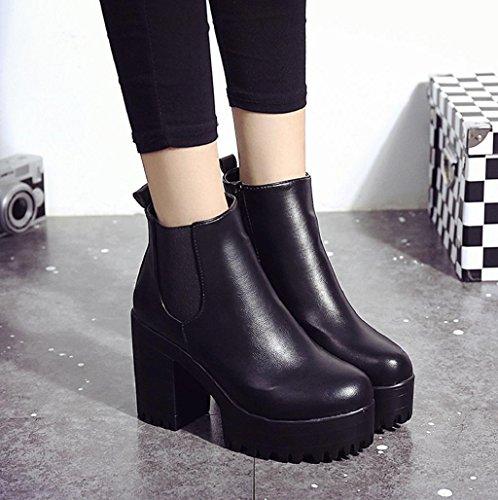 Zapatos para mujer Sannysis Botas de martin Tacón cuadrado Negro