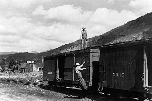 Freight Car 1940 Nrailroad Workers On The Freight Cars Of A Narrow Gauge Railway Train In Telluride Colorado Photograph By Russell Lee September 1940 Poster Print by (24 x 36)