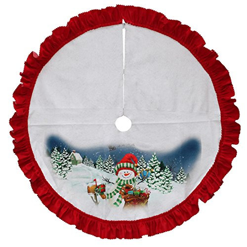 (Trim A Home 42 In Tree Skirt With Printed Design And Red Ruffle Border Snowman With Gifts)