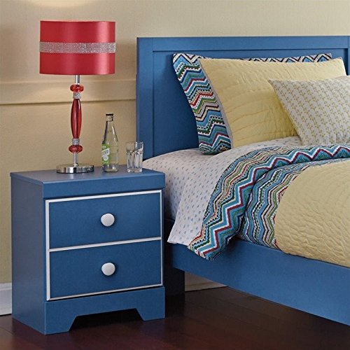 Ashley Bronilly 1 Drawer Wood Nightstand in Blue by Ashley Furniture