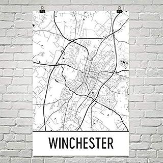 Modern Map Art Winchester Art Winchester Art Carte de Winchester Art Motif Winchester Va Poster Winchester