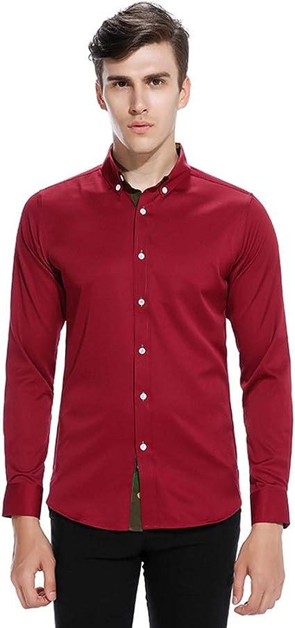 Camisa de Solapa de Color con diseño de Tapeta de Manga Larga ...