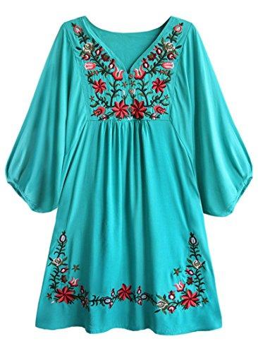 Kafeimali Women's Summer Mini Dress Bohemian Embroidery Tunic Shift Blouse (Light Blue) ()