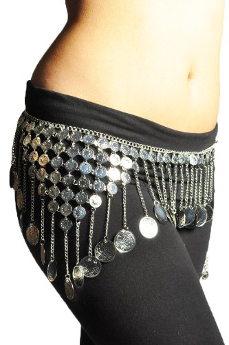 Gypsy Hippie Belly Dance Silver Metal Dangling Coins Chains Belt Adjustable #B139S