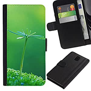 KingStore / Leather Etui en cuir / Samsung Galaxy Note 3 III / Pianta Natura Verde botanico