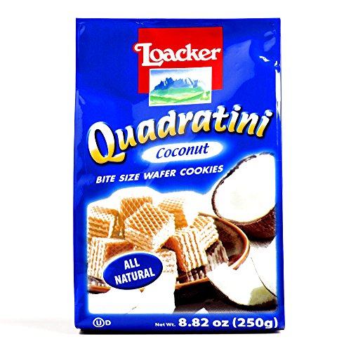 Cookies Wafer Coconut - Loacker Coconut Quadratini Wafers 8.8 oz each (1 Item Per Order)